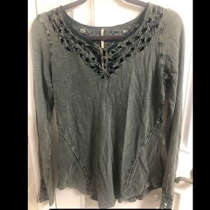 Free people shirt in light washed hunter green